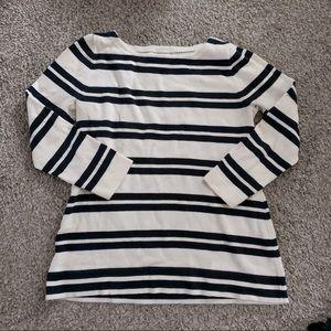 J crew navy blue striped boatneck sweater